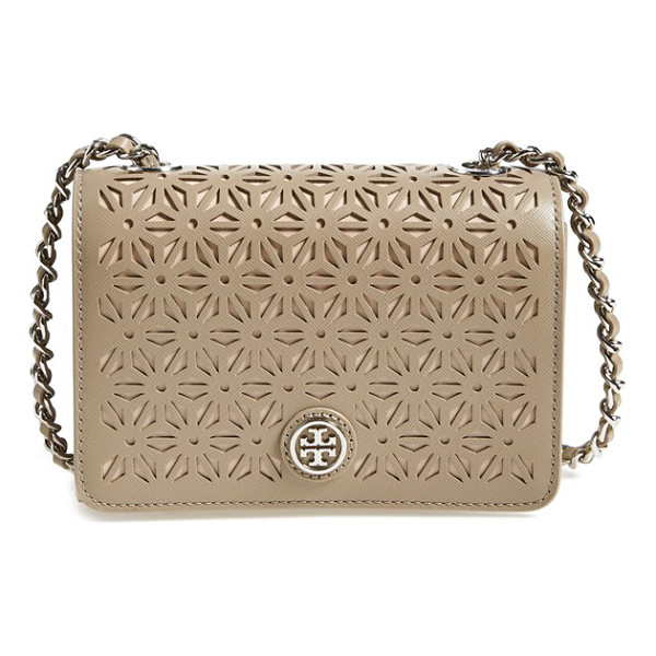 TORY BURCH Robinson perforated leather shoulder bag - Perforated Saffiano leather adds a pristine geometric touch...