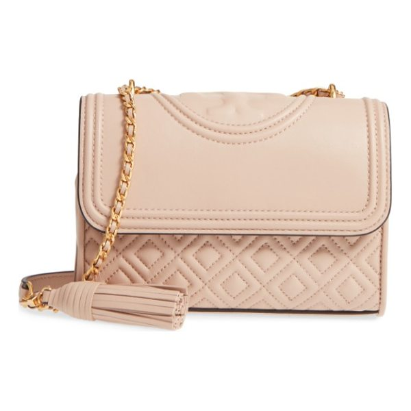TORY BURCH small fleming quilted lambskin leather convertible shoulder bag - Diamond-quilted lambskin leather and a topstitched double-T...