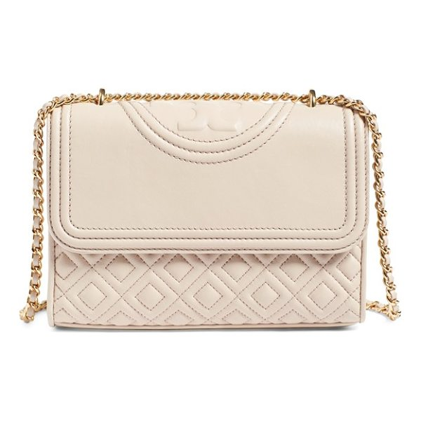 TORY BURCH 'small fleming' quilted leather shoulder bag - Diamond-quilted lambskin leather, a topstitched double-T...