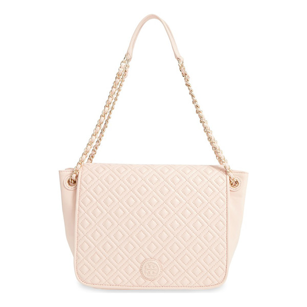 TORY BURCH Small marion diamond quilted lambskin leather shoulder bag - Precise diamond quilting highlighted by...