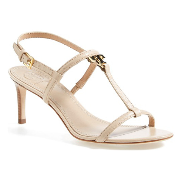 TORY BURCH t logo leather sandal - A gleaming, monogram logo ornament-in the shape of an...