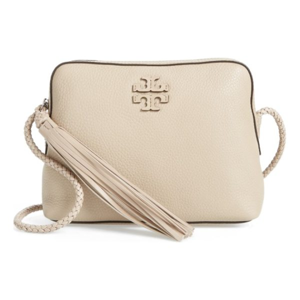 TORY BURCH taylor leather camera bag - A slim, braided strap and tasseled zipper pull add...