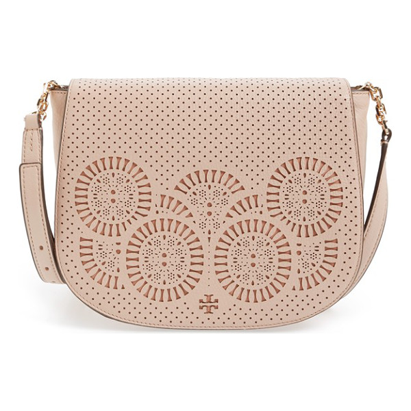 TORY BURCH Zoey saddle bag - A laser-cut Tory Burch logo and medallions distinguish the...