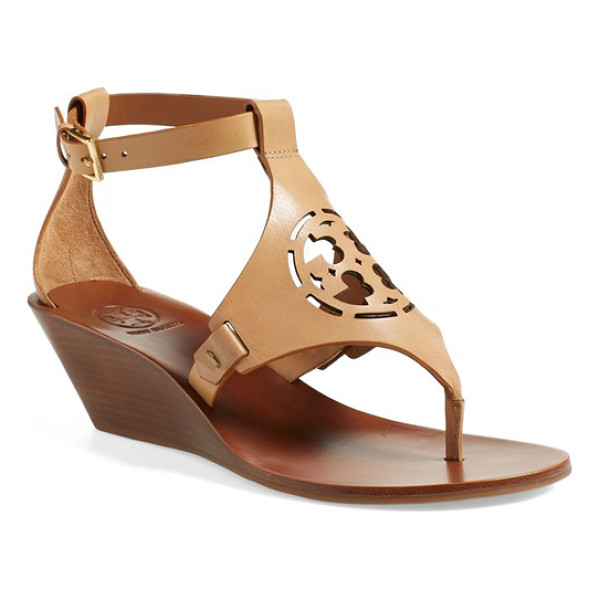 TORY BURCH zoey wedge sandal - A cutout Tory Burch medallion adds signature sophistication...