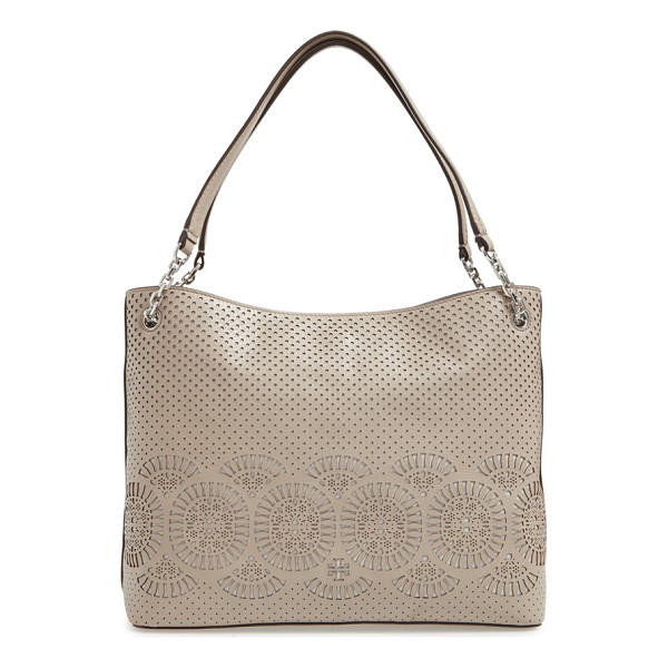 TORY BURCH Zoey zip tote - Laser-cut medallions and perforations enhance the summery...