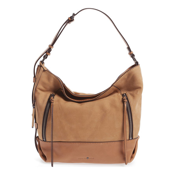 TREASURE & BOND double zip leather hobo bag - A washed leather finish extends the well-worn appeal of a...
