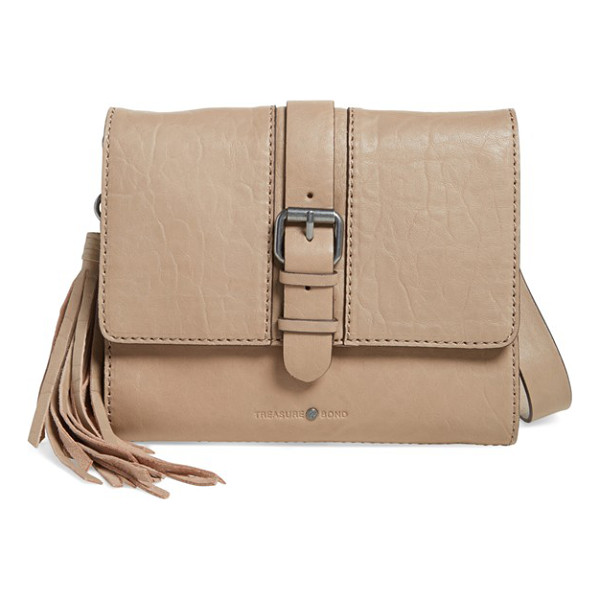 TREASURE & BOND Small leather messenger bag - A tassel charm adds stylish swing to a classic messenger...