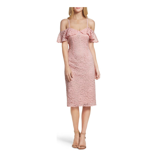 TRINA TRINA TURK mysterious off the shoulder dress - A shoulder-baring neckline and fluttering ruffles update...