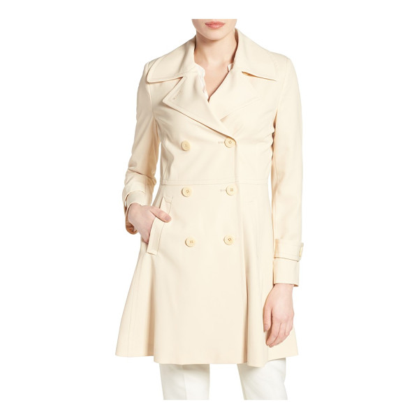 TRINA TURK rosemarie skirted trench coat - A weather-tough twill trench with notch-collar styling gets...