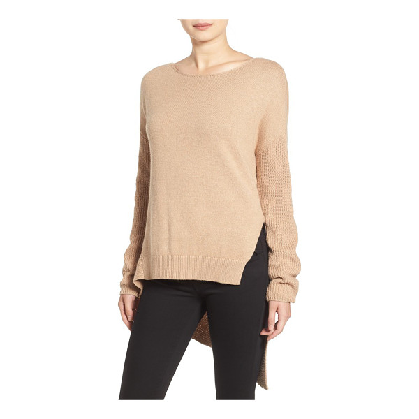 TROUVE asymmetrical hem sweater - Grey skies and plummeting temps call for slouchy comfort in...