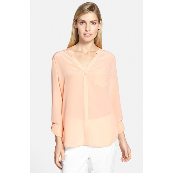 TROUVE silk blouse - A clean hidden placket and roll-tab sleeves contemporize a...