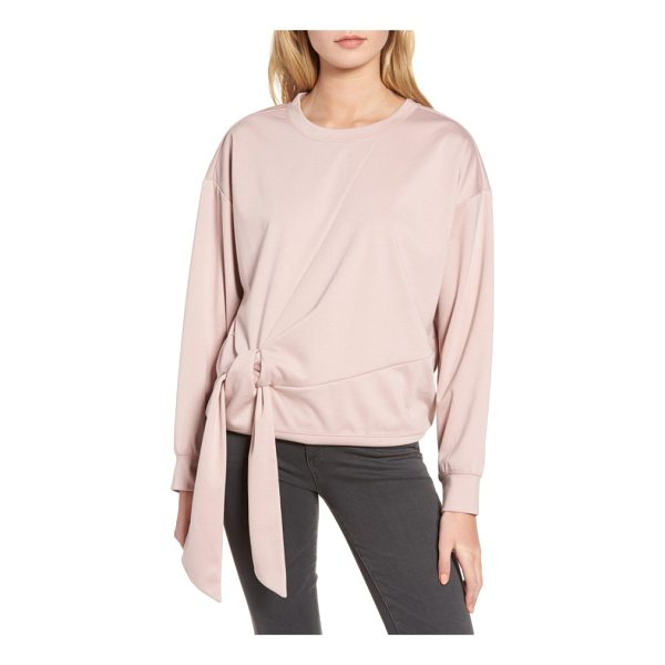TROUVE tie front sweatshirt - Finished with an elegantly gathered front tie, this...