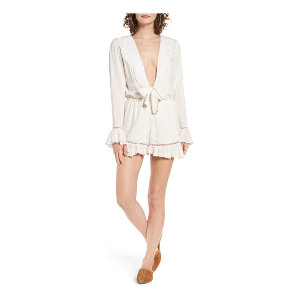 TULAROSA barlow plunging romper - Equal parts demure and daring, this soft white romper with...