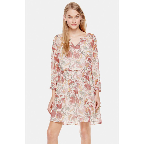 TWO BY VINCE CAMUTO floral print babydoll dress - A gauzy floral-print dress is styled with a split-neckline...