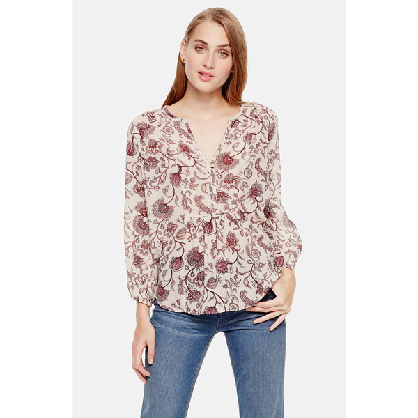 TWO BY VINCE CAMUTO floral print ruched split neck blouse - Gently ruched panels at the front and back create a soft...
