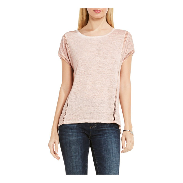 TWO BY VINCE CAMUTO linen tee - Airy ladder lace stripes let cool breezes filter through a...