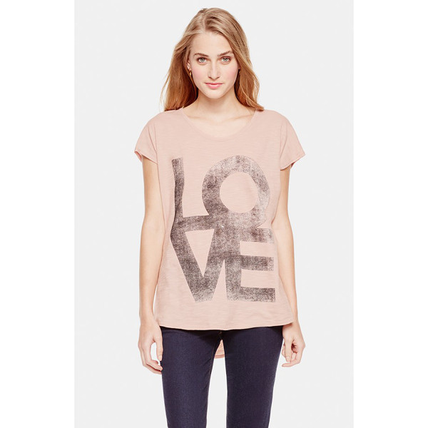 TWO BY VINCE CAMUTO love high/low slub tee - All you need is printed right on the front of this tee in...