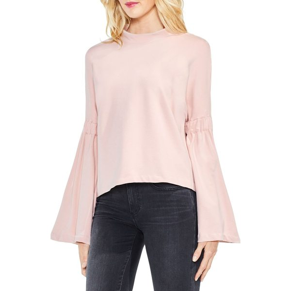 TWO BY VINCE CAMUTO mock neck bell sleeve top - Boast an elegant silhouette in this stretch-knit top...