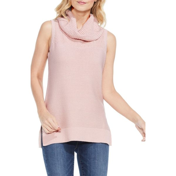 TWO BY VINCE CAMUTO sleeveless cowl neck sweater - Waffle stitching textures the drapey cowl and yoke of a...