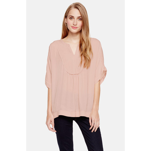 TWO BY VINCE CAMUTO split neck charmeuse blouse - A light and loose blouse cut from soft charmeuse is...