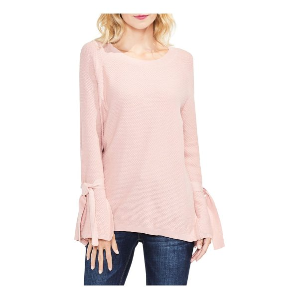 TWO BY VINCE CAMUTO texture stitch tie-sleeve top - A feminine, tactile texture enriches this cozy pullover,...