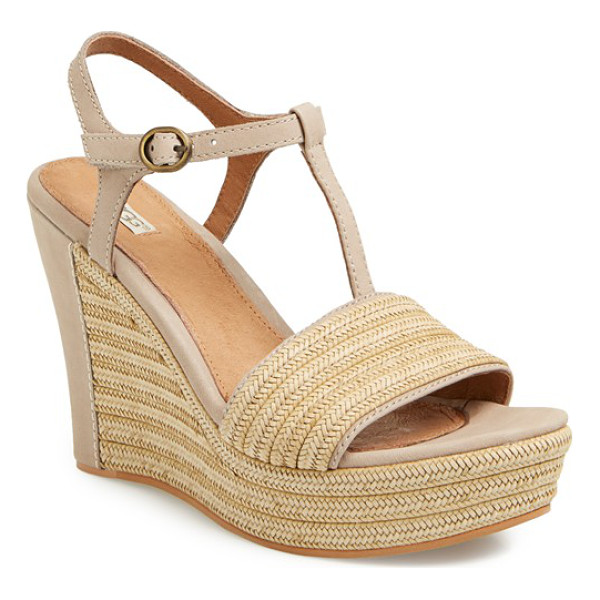 UGG fitchie t-strap wedge sandal - Braided jute with leather trim details the toe strap and...