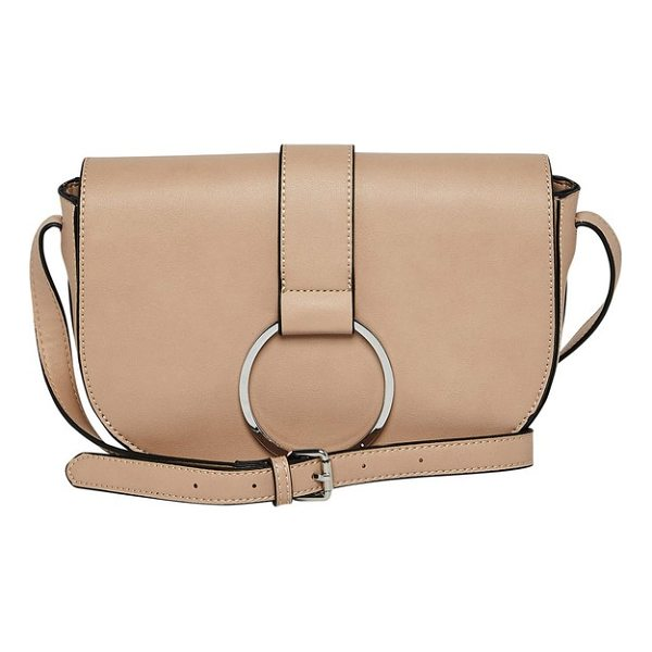 URBAN ORIGINALS lola vegan leather crossbody saddle bag - Polished ring hardware accents the curved flap of a...