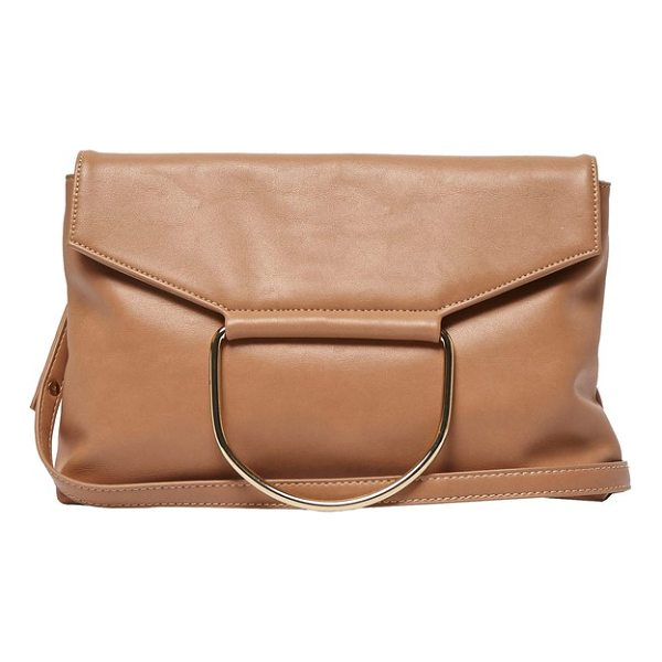 URBAN ORIGINALS on your radar vegan leather foldover bag - A polished ring accents the fold-over flap of a...