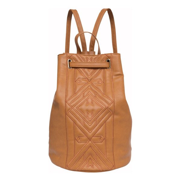 URBAN ORIGINALS shaded lady vegan leather backpack - Tonal geometric embroidery upgrades a supple vegan-leather...