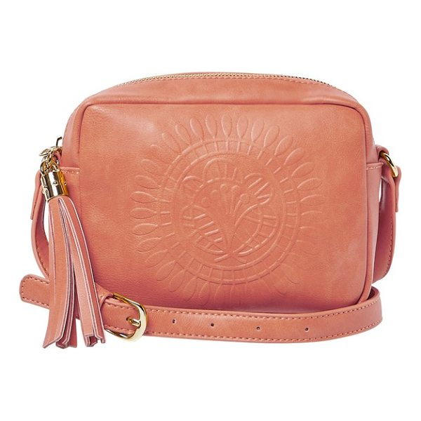 URBAN ORIGINALS wild rose embossed vegan leather shoulder bag - Attractive embossing and a swishy tassel charm style a...