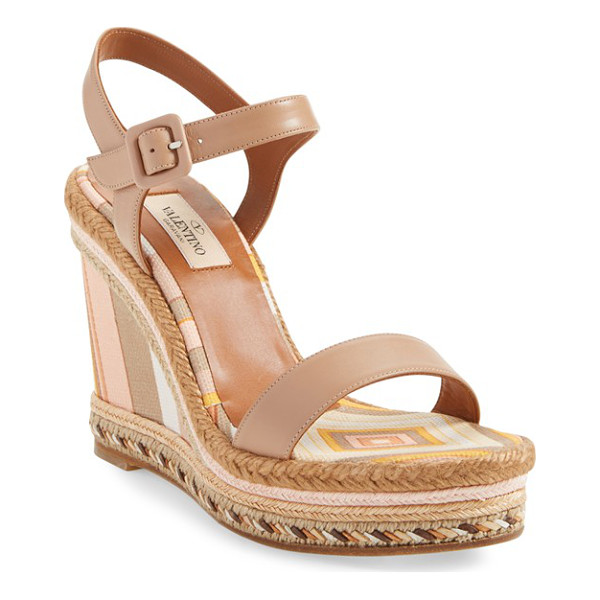 VALENTINO 1975 ankle strap wedge - The wedge goes retro-chic with fresh stripes in springtime...
