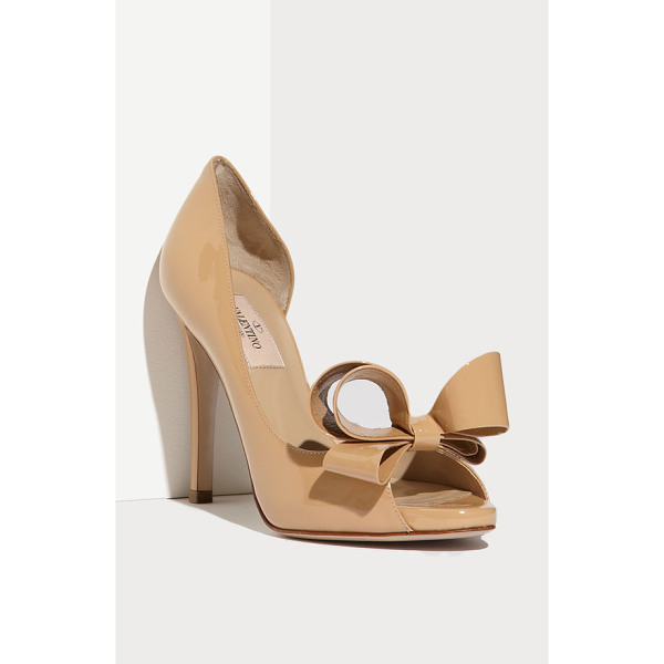 VALENTINO couture bow dorsay pump - A bold oversized bow tops the peep toe of a glossy patent...
