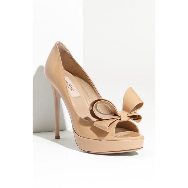 VALENTINO couture bow platform pump - A signature bow adds dimension and charm to a glossy...