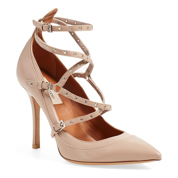 VALENTINO love latch strappy grommet pump - With its trio of buckles, slender straps punctuated by...