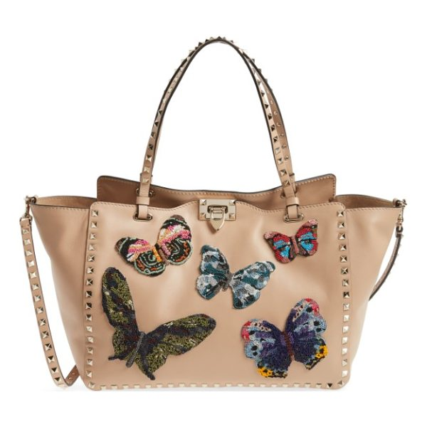VALENTINO medium beaded butterfly leather tote - Exquisitely beaded butterflies-the fashion house's...