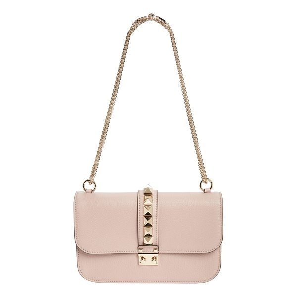 VALENTINO medium lock studded leather shoulder bag - A row of gleaming pyramid studs highlights the sleek...