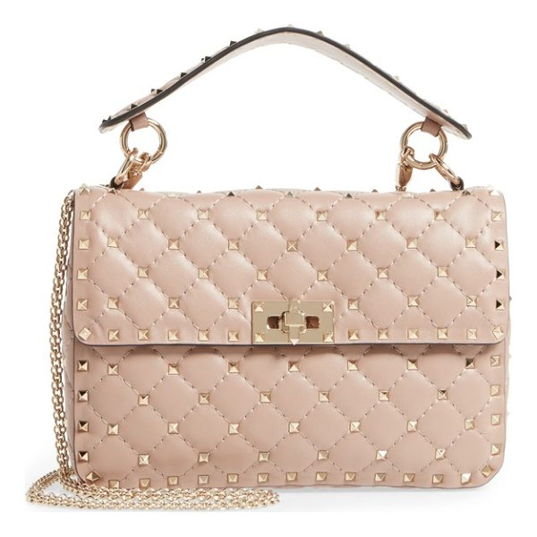 VALENTINO medium rockstud matelasse quilted leather shoulder bag - Micro pyramid studs spike the meticulous matelasse quilting...