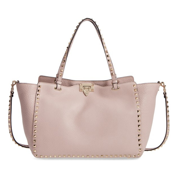VALENTINO medium rockstud vitello leather tote - Signature pyramid studs punctuate the slouchy silhouette of...