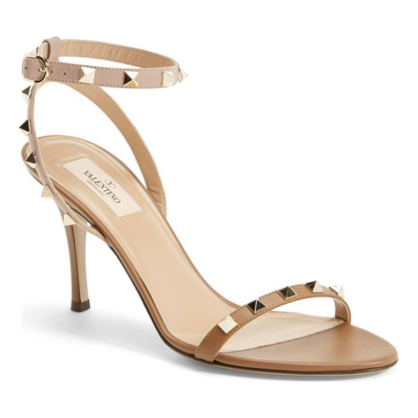 VALENTINO rockstud ankle strap sandal - A streamlined sensibility and statement pyramid studs...