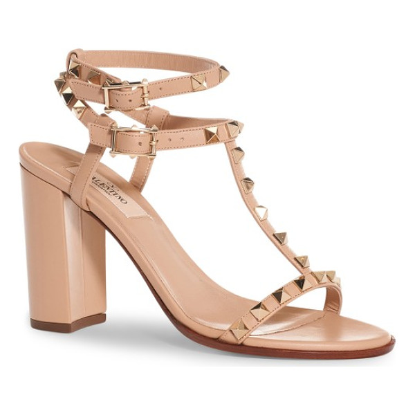 VALENTINO rockstud ankle strap sandal - A chunky wrapped heel refreshes the iconic style of a