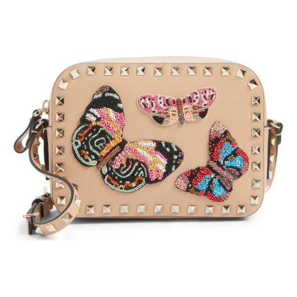 VALENTINO rockstud beaded butterfly leather camera crossbody bag - Exquisitely beaded butterflies-the fashion house's...