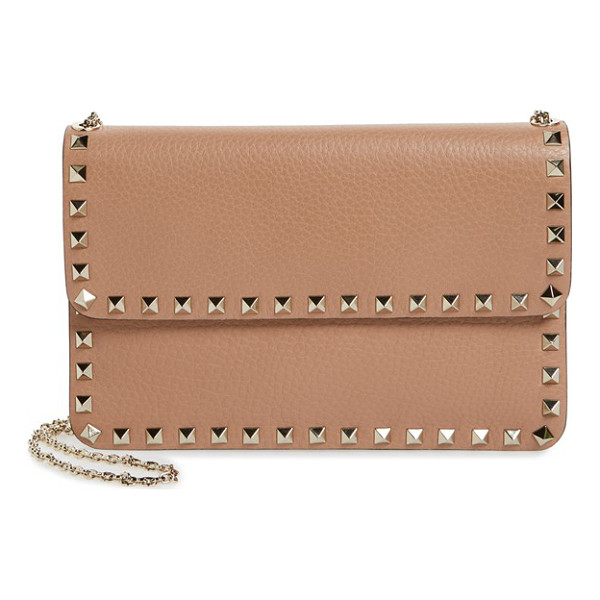 VALENTINO 'rockstud' calfskin leather shoulder bag - Ruthenium pyramid studs trace the clean-lined profile of a...
