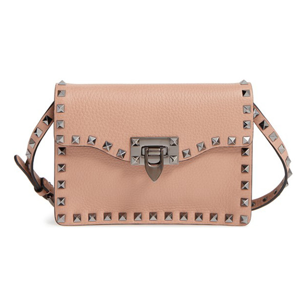VALENTINO 'rockstud' calfskin leather shoulder bag - Signature pyramid studs trace the clean, modern profile of...