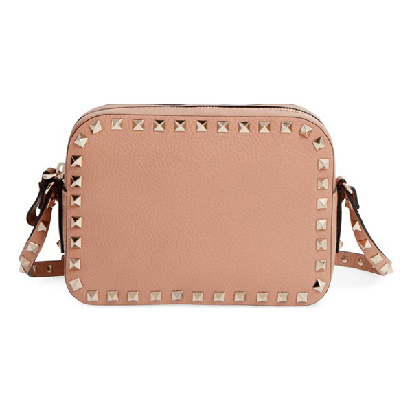 VALENTINO Rockstud camera leather crossbody bag - A pebbled leather crossbody in a soft neutral hue looks...