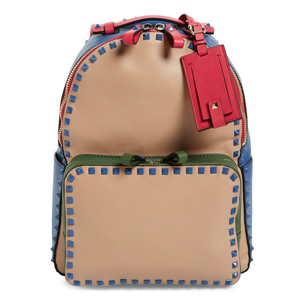 VALENTINO Rockstud colorblock backpack - A smooth leather backpack takes a retro turn with vibrant...