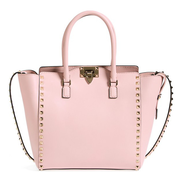 VALENTINO Rockstud double handle leather shopper - Iconic pyramid studs frame a structured Italian tote cast...