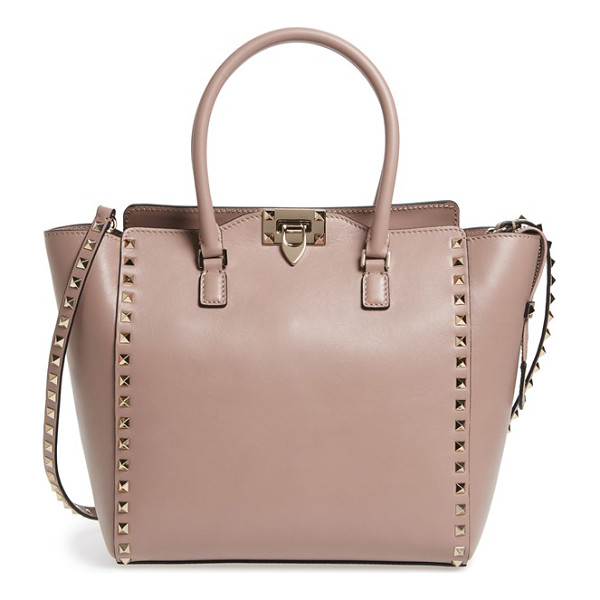 VALENTINO 'rockstud' leather double handle tote - Just the right size for carrying yet not too small to...