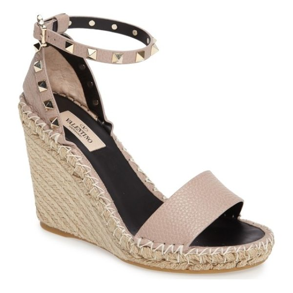 VALENTINO 'rockstud' espadrille wedge - Gleaming rockstud hardware lines the strap of a standout...