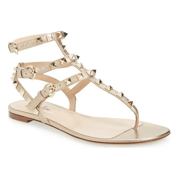 VALENTINO rockstud gladiator sandal - Regimented rows of pyramid studs punctuate the intersecting...