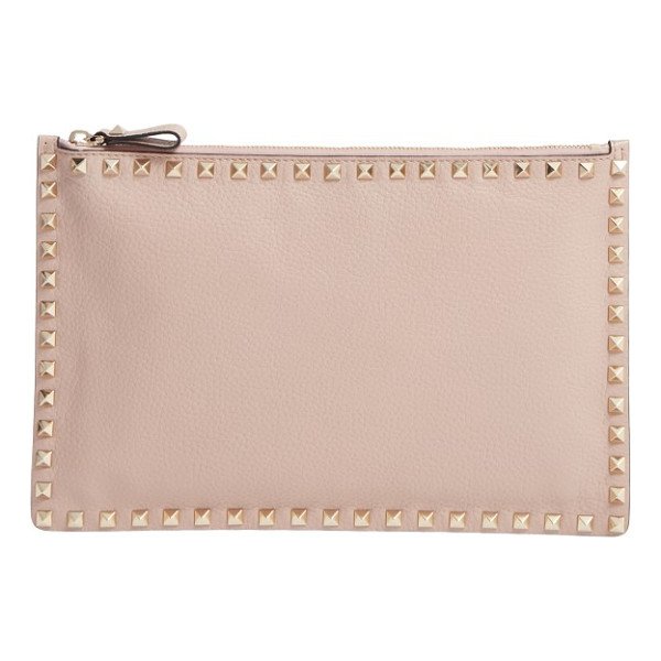 VALENTINO rockstud large leather pouch - Gleaming pyramid studs outlining a buttery-soft leather